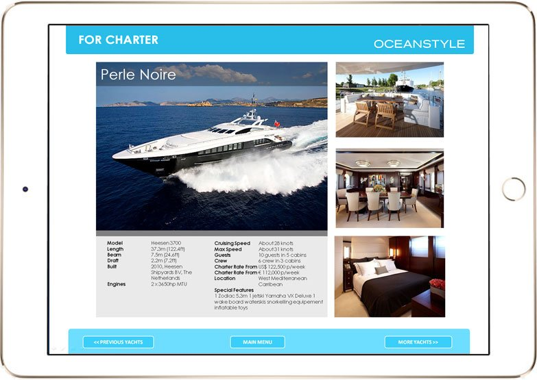 Oceanstyle Yachting interface